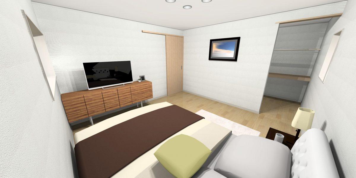 新築戸建て「OURS 飯塚有井」寝室パース