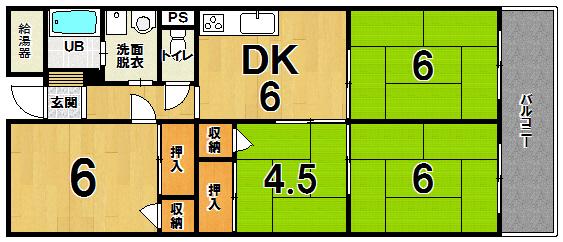 中古マンション「朝倉街道ハイツ」間取り図