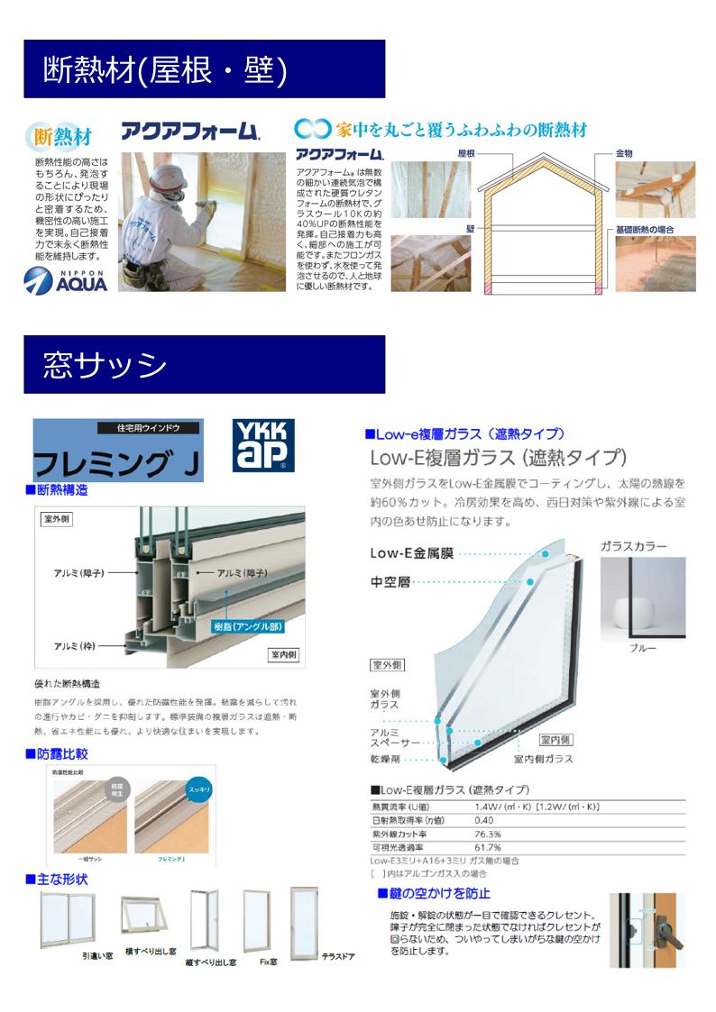 大村市新築建売住宅 「OURS大川田 3号地」設備仕様(断熱材・サッシ)