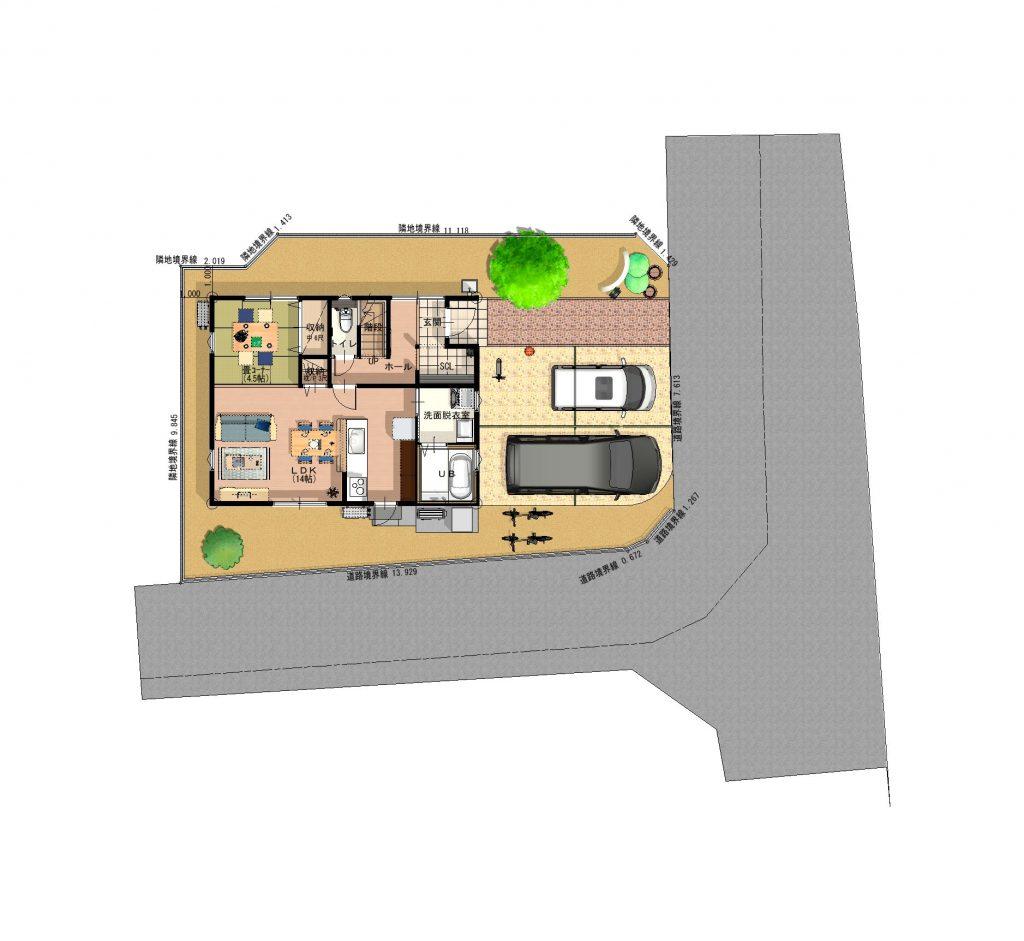 新築建売住宅 「OURS小川内 1号地」配置図