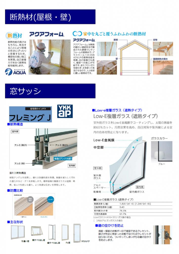 大村市新築建売住宅 「OURS大川田 1号地」設備仕様(断熱材・サッシ)