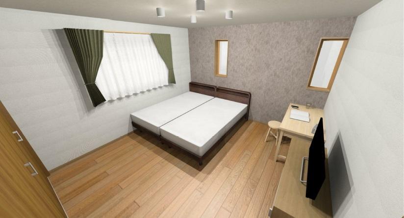 小城市新築建売住宅OURS三日月1号地・寝室パース