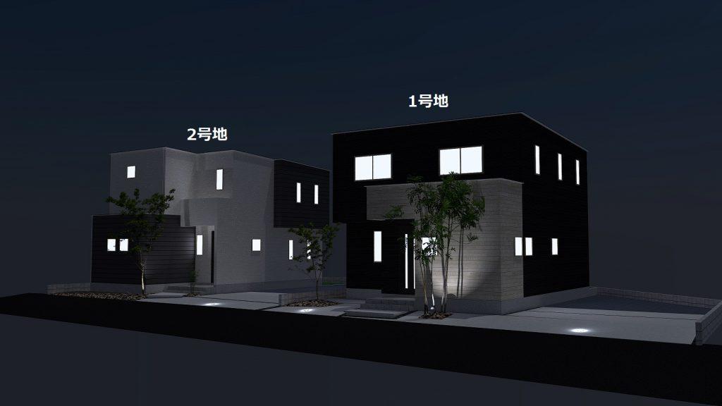 小城市新築建売住宅OURS三日月1号地・外観パース(夜)