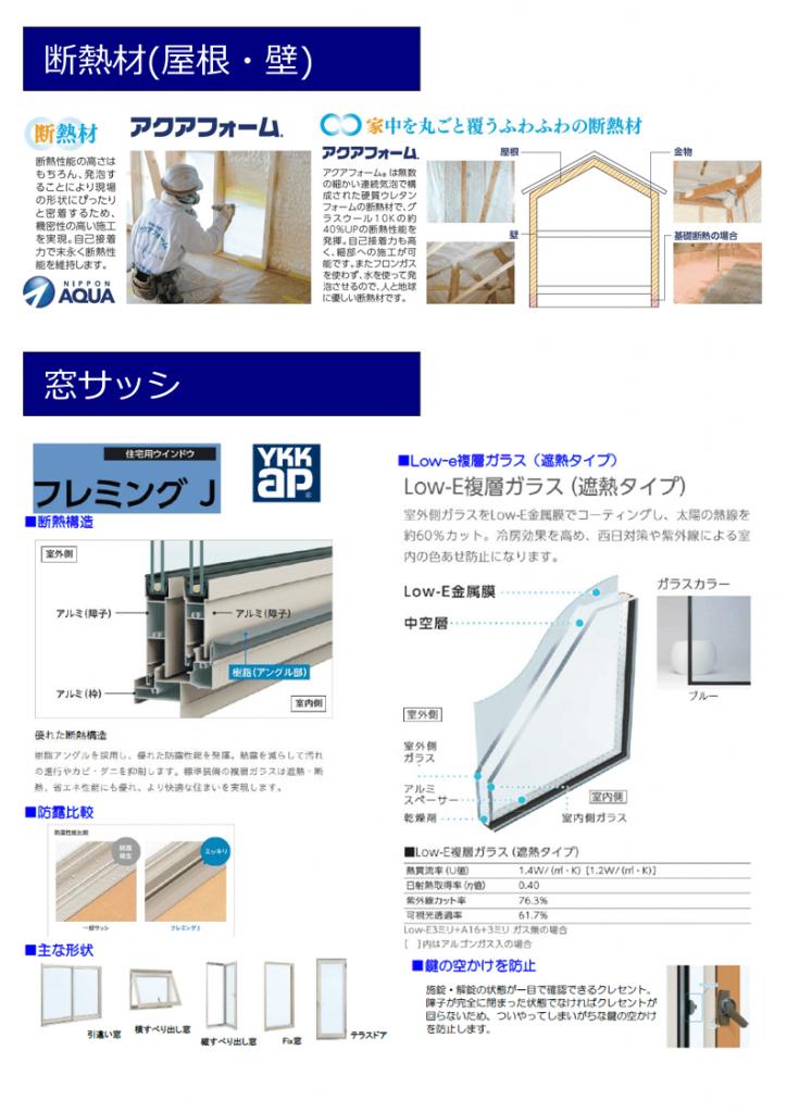 新築建売住宅 「OURS小川内 1号地」設備仕様(断熱材・サッシ)