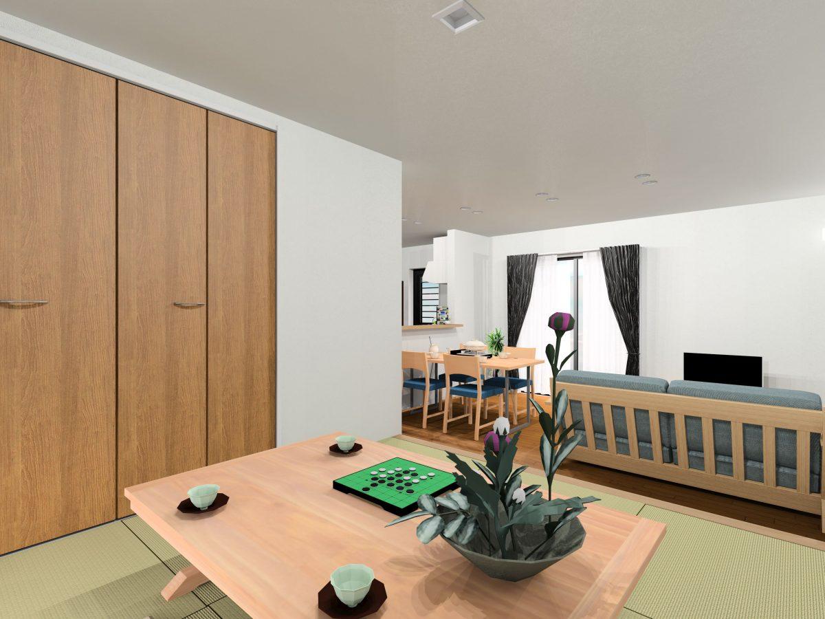 大村市新築建売住宅 「OURS小川内 1号地」「リビング」パース