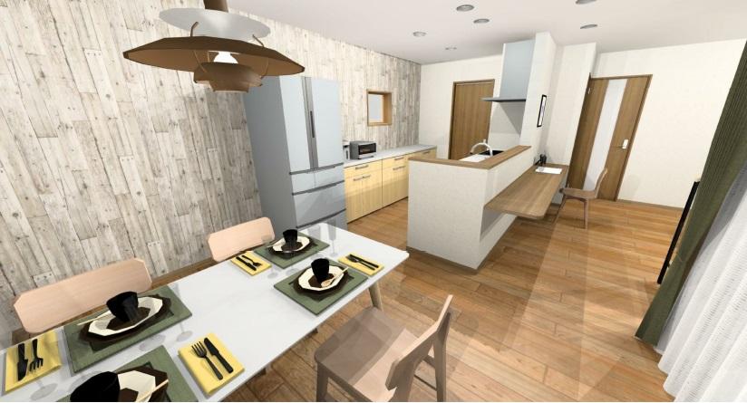 小城市新築建売住宅OURS三日月1号地 キッチン・ダイニングパース