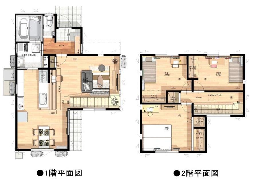 小城市新築建売住宅【OURS三日月】全体間取図