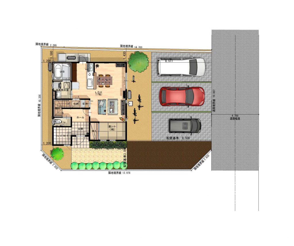 嬉野市 新築 建売 OURS 嬉野1号地 配置図