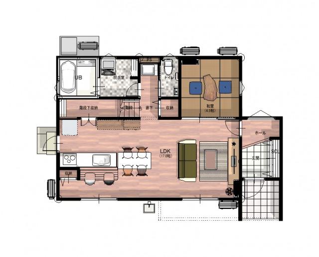 伊万里市 新築戸建建売住宅「OURS脇田」平面図1階