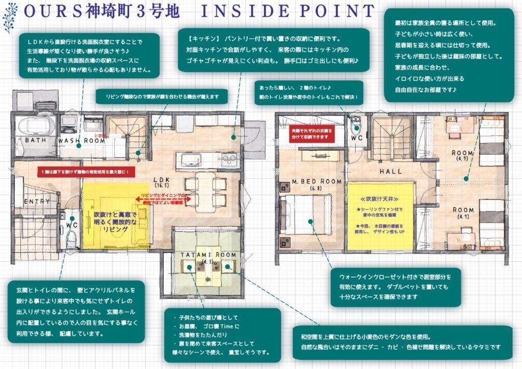 神埼市新築建売住宅「OURS神埼3号地」内観コメント