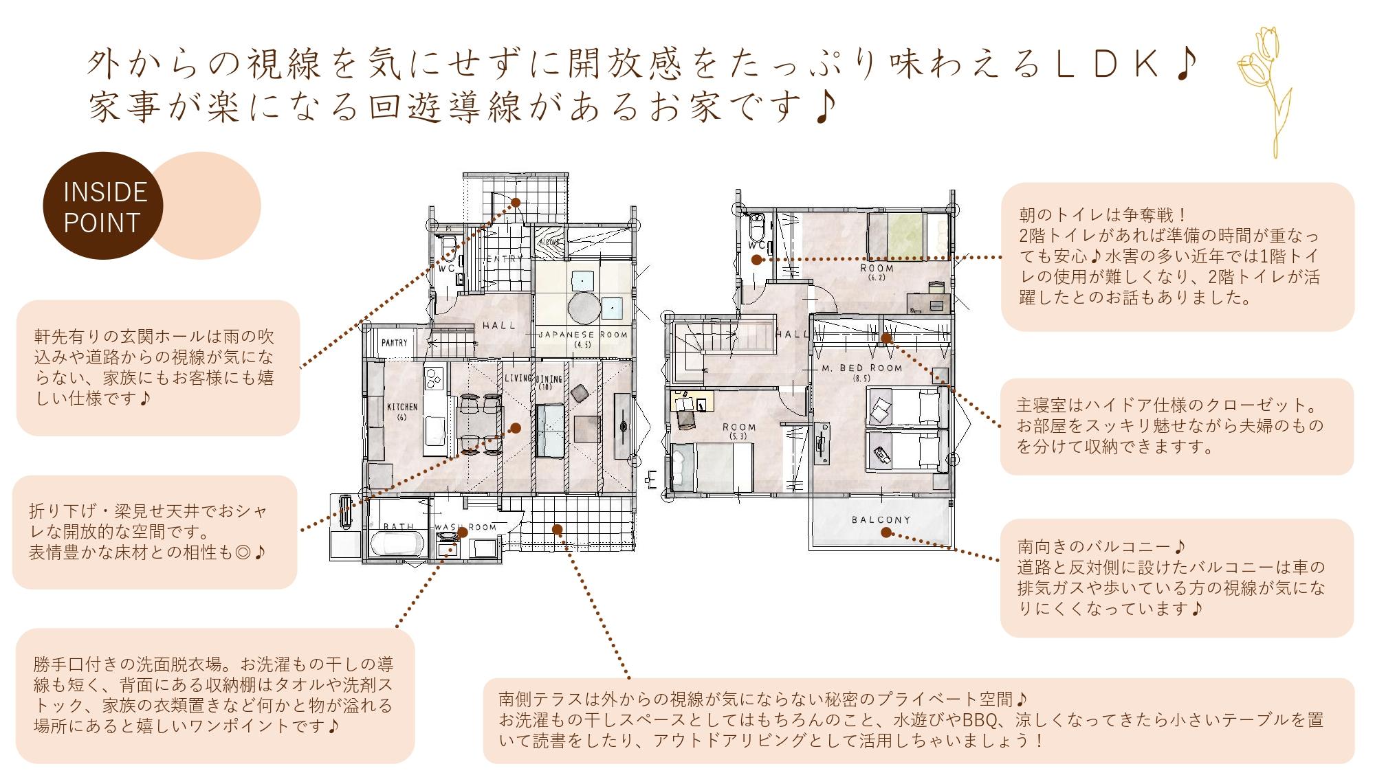 佐賀市新築建売住宅「OURS神園1号地」INSIDE POINT