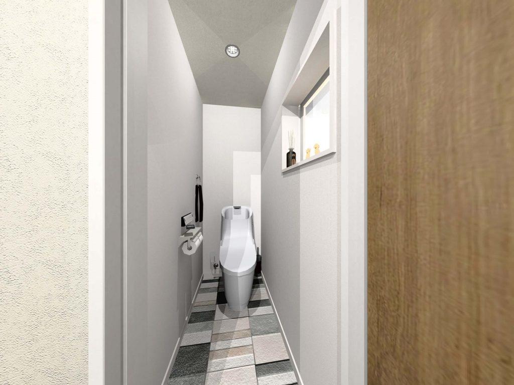 """大村市新築戸建建売住宅 「OURS大村 小川内5号地」""""夜カフェの家"""" ◆2階トイレ"""