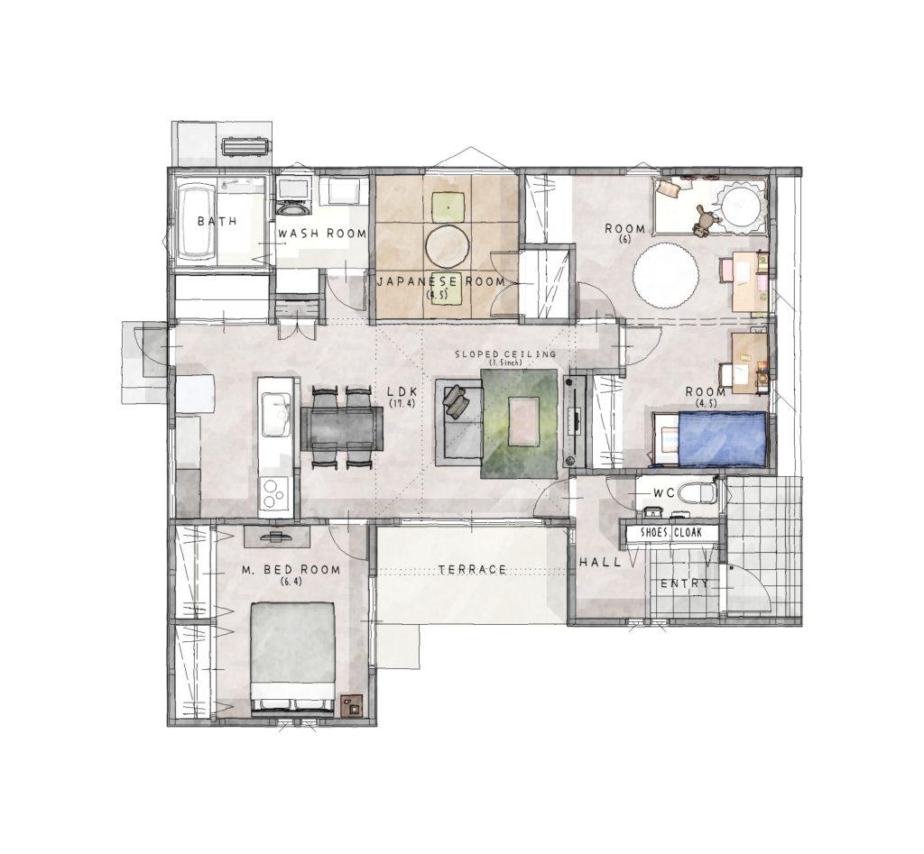 小城市 新築建売住宅「OURS小城町1号地」平面図