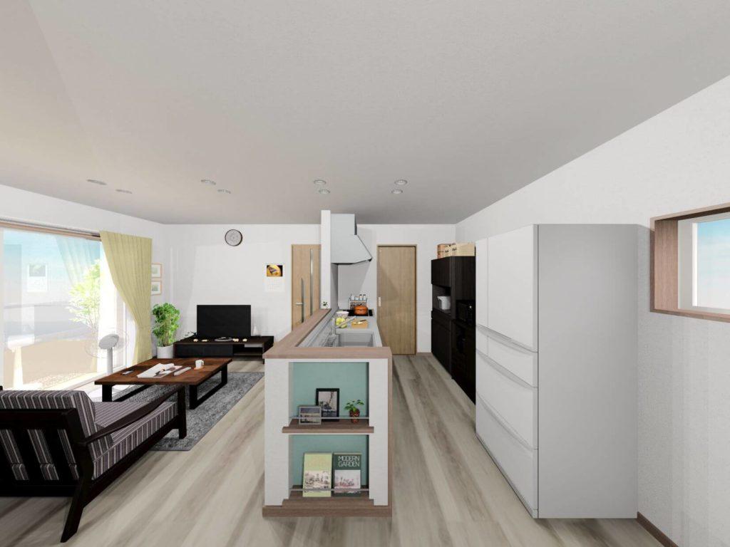 白石町東郷新築住宅「OURS白石東郷1号地」「大人可愛い2階建て住宅」◆リビングイメージ