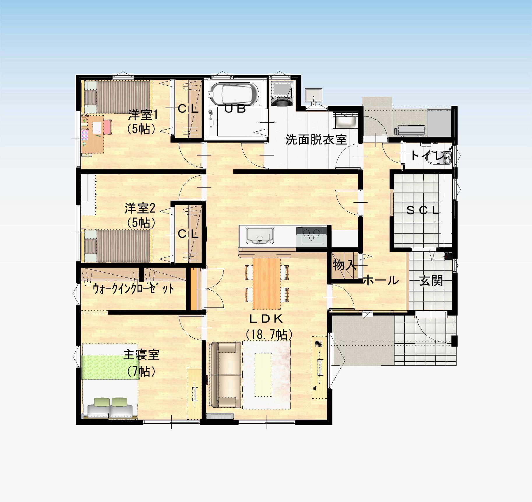 武雄市 新築建売住宅「OURS富岡3号地」間取り図