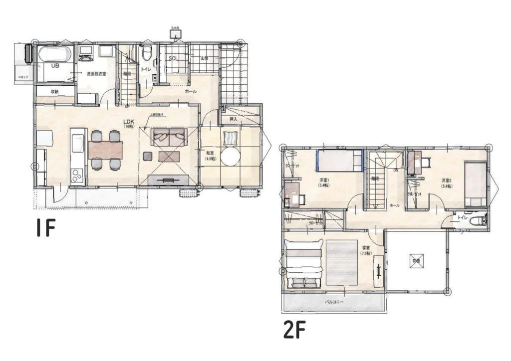 武雄市武雄町 新築建売住宅「OURS永島Ⅱ5号地」◆間取図