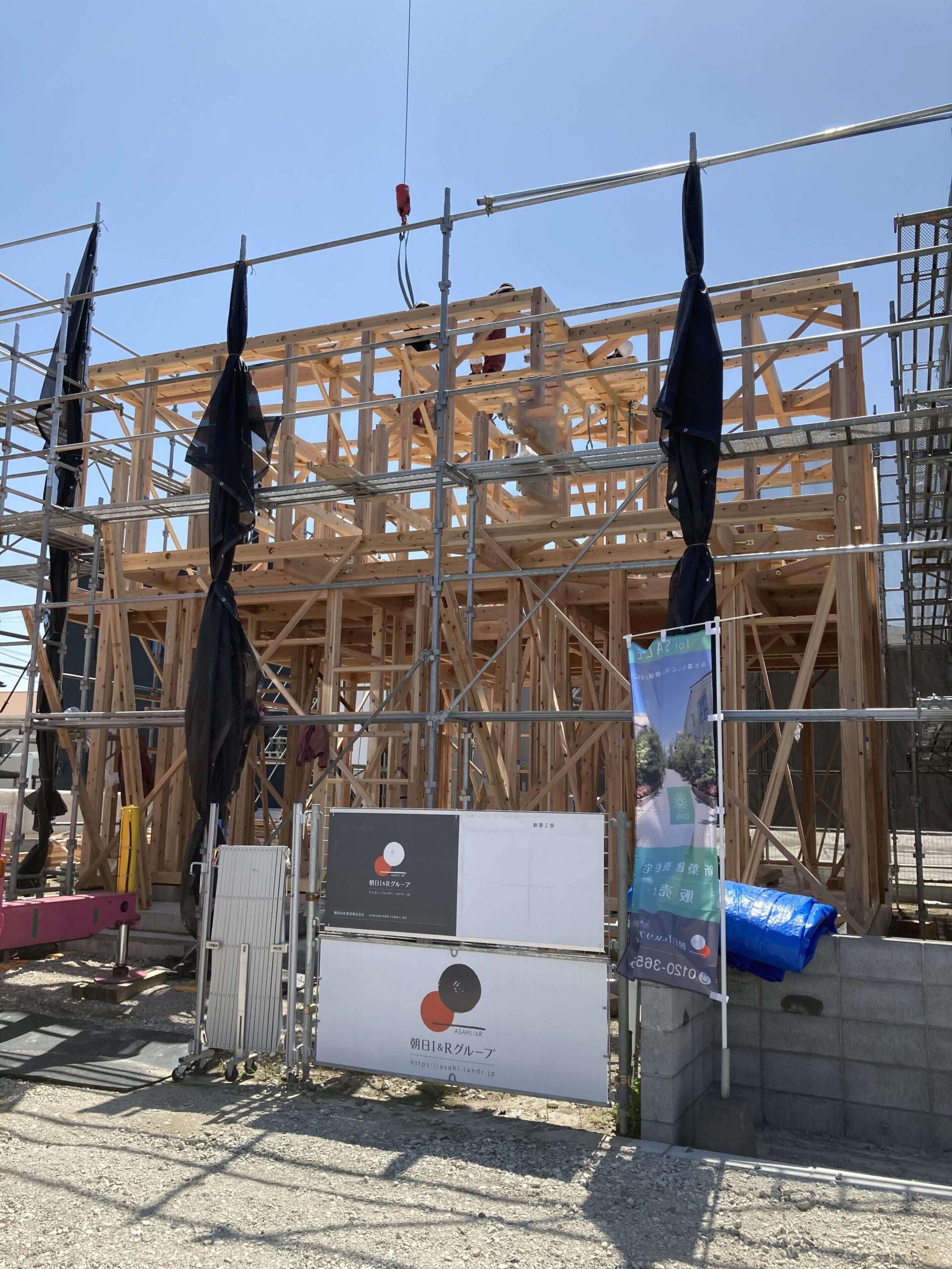 神埼市新築建売住宅【OURS神埼町Ⅱ】1号地・上棟