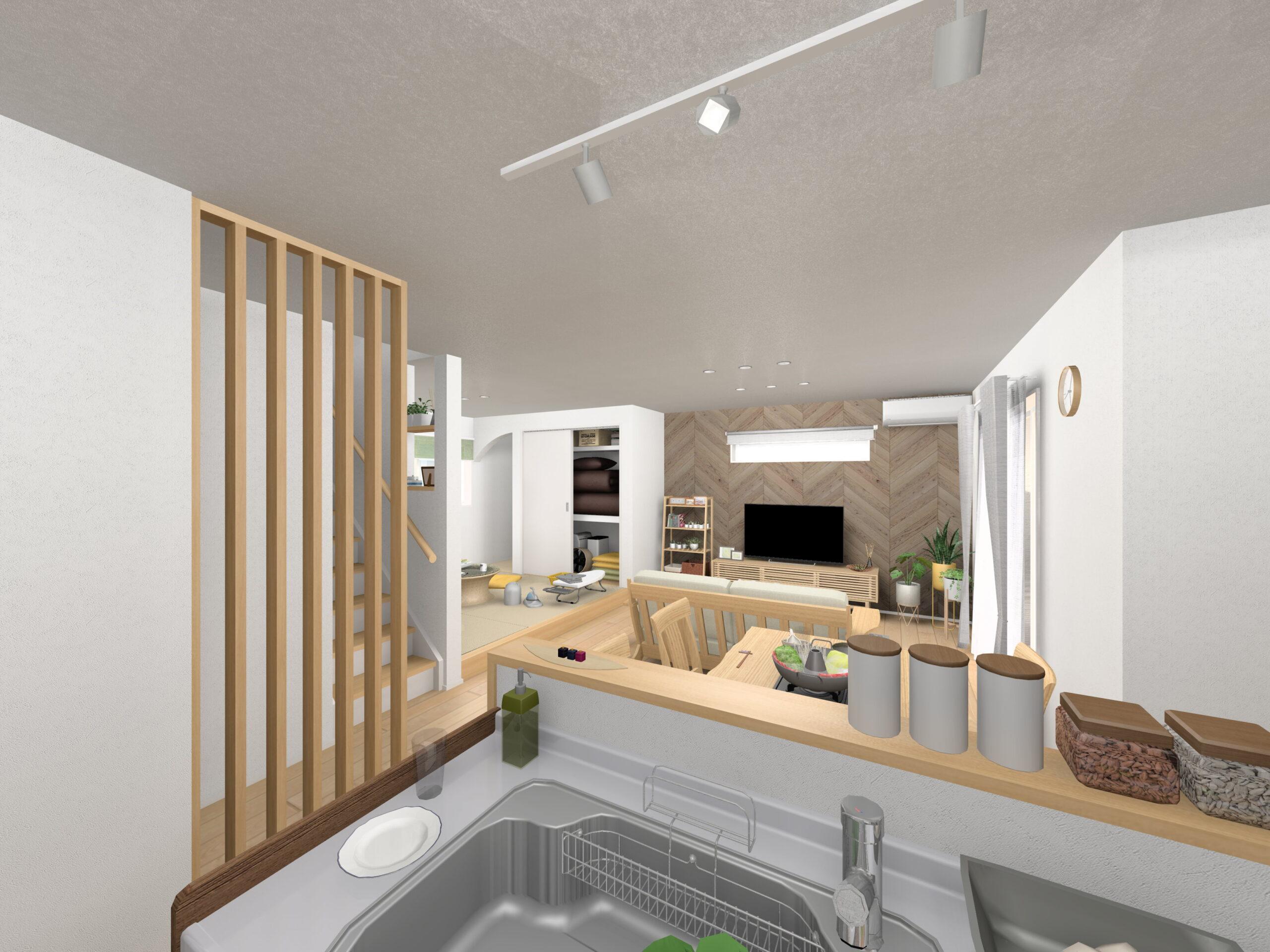 嬉野市新築建売住宅「OURS下野2号地」LDKパース