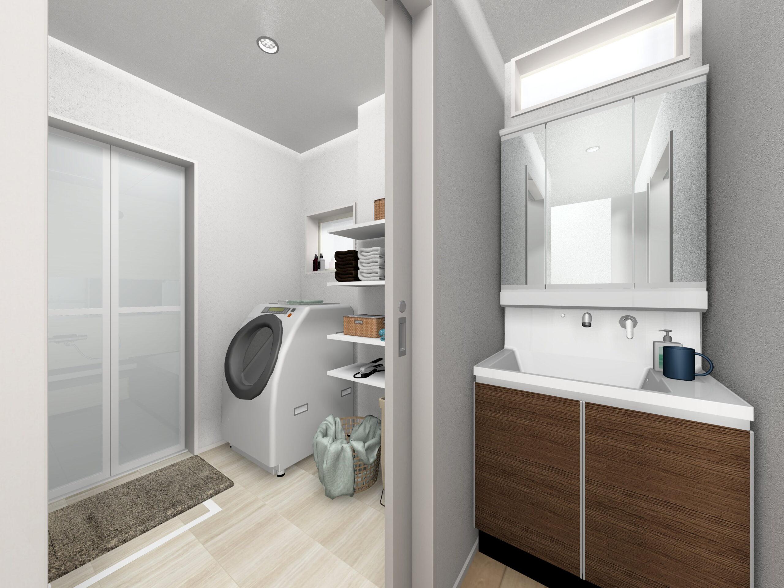 嬉野市新築建売住宅「OURS下野2号地」洗面脱衣所パース