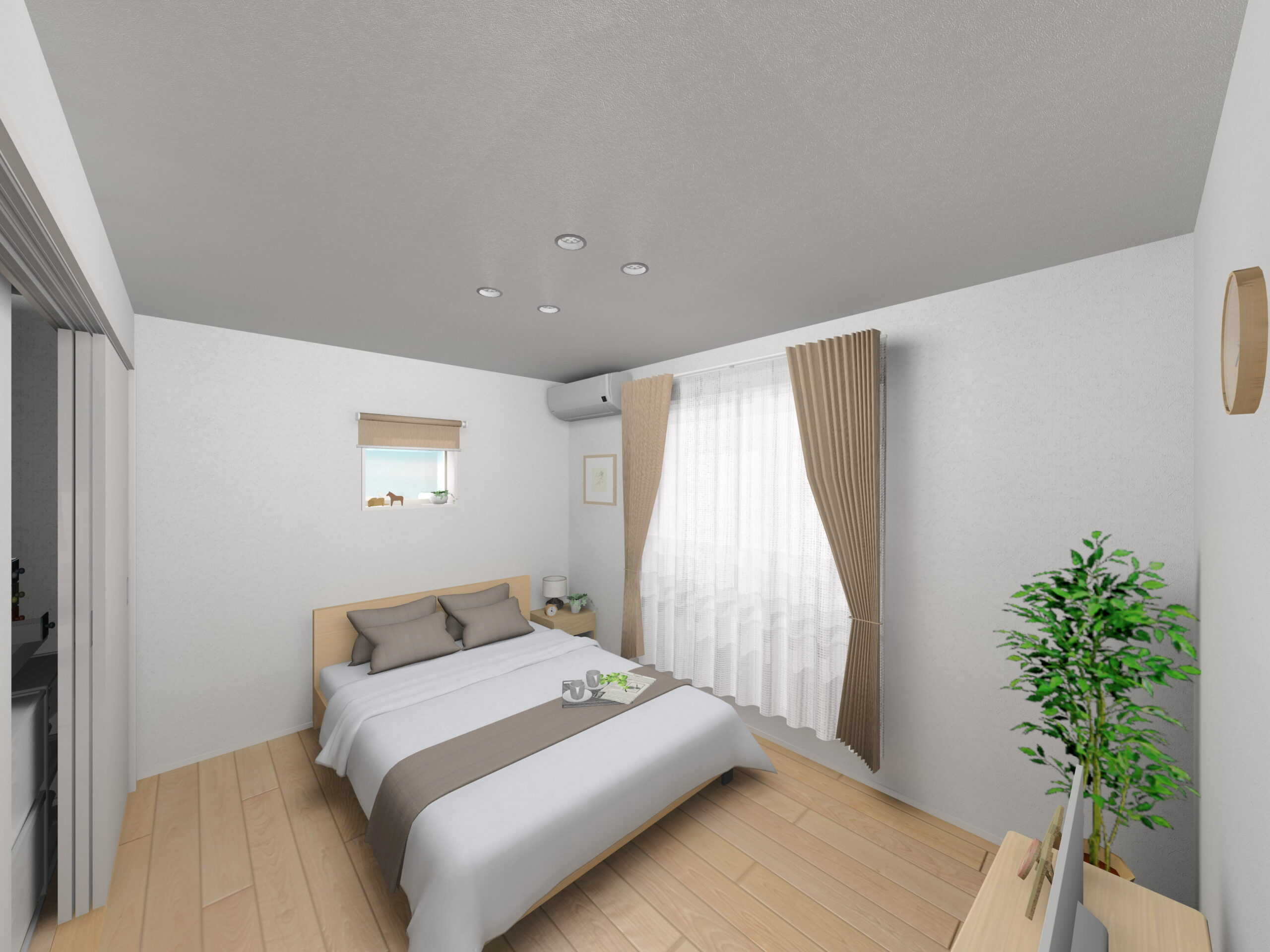 嬉野市新築建売住宅「OURS下野2号地」主寝室パース