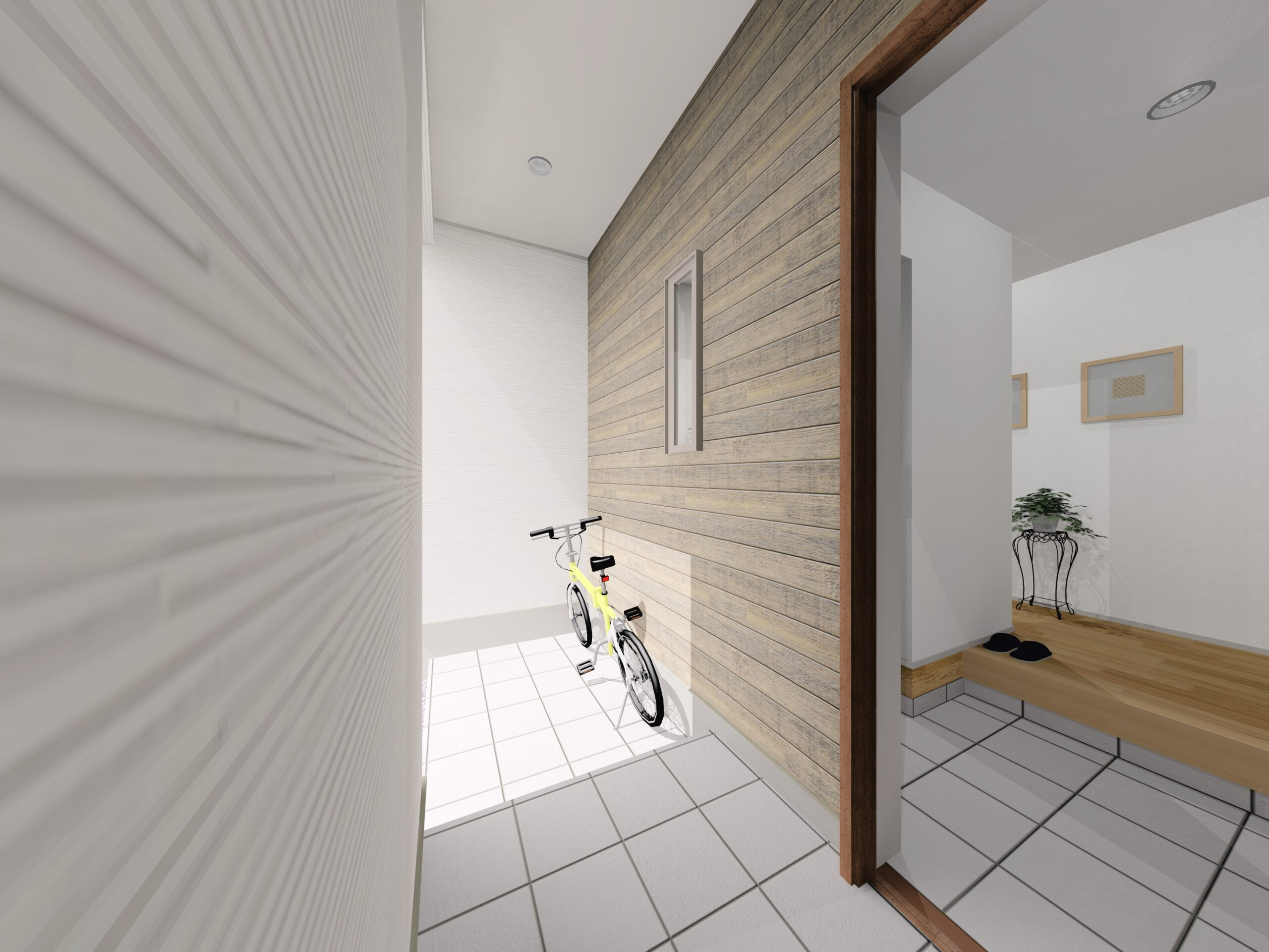 嬉野市新築建売住宅「OURS下宿」4号地玄関パース