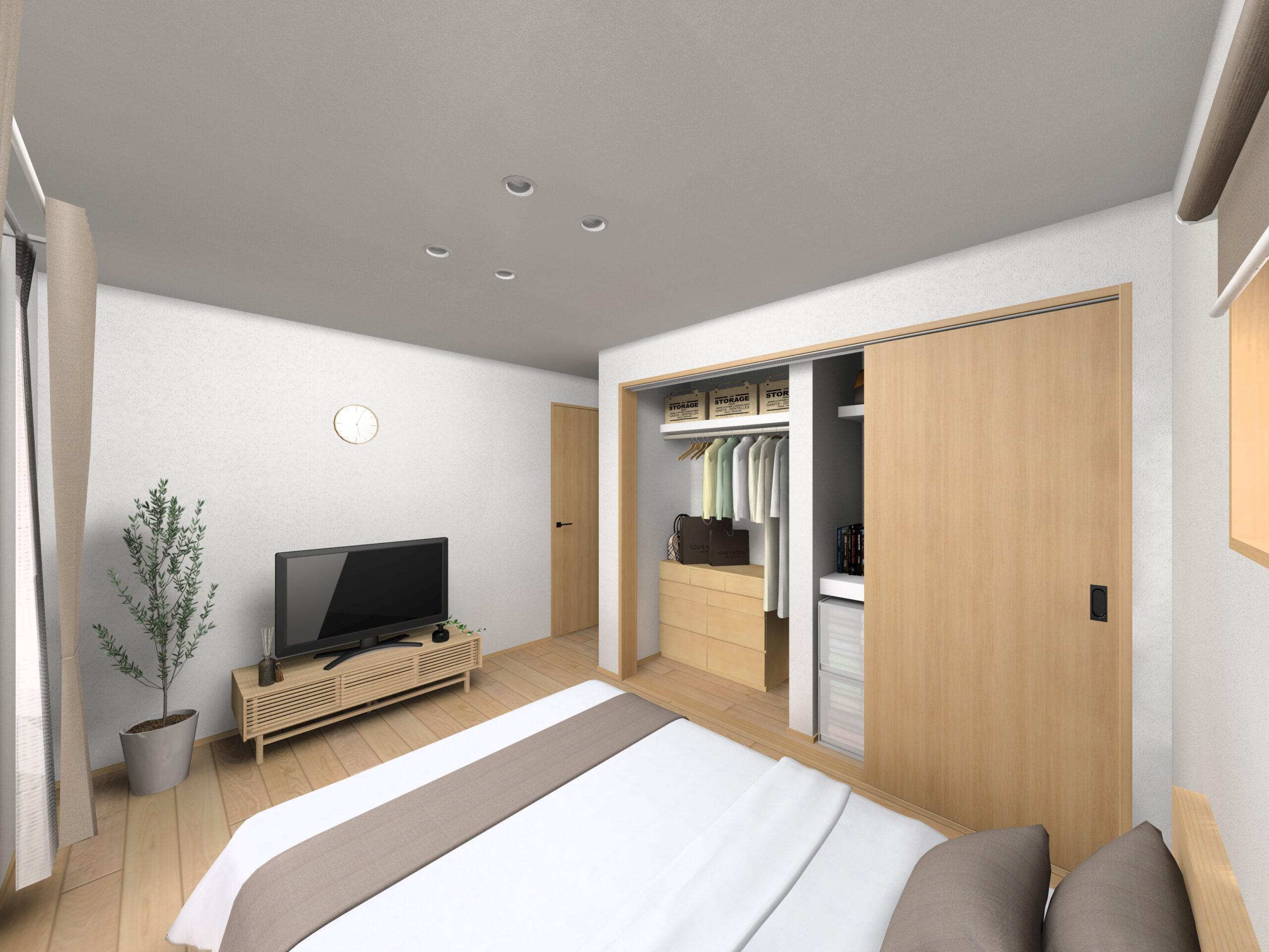 嬉野市新築建売住宅「OURS下野1号地」主寝室パース