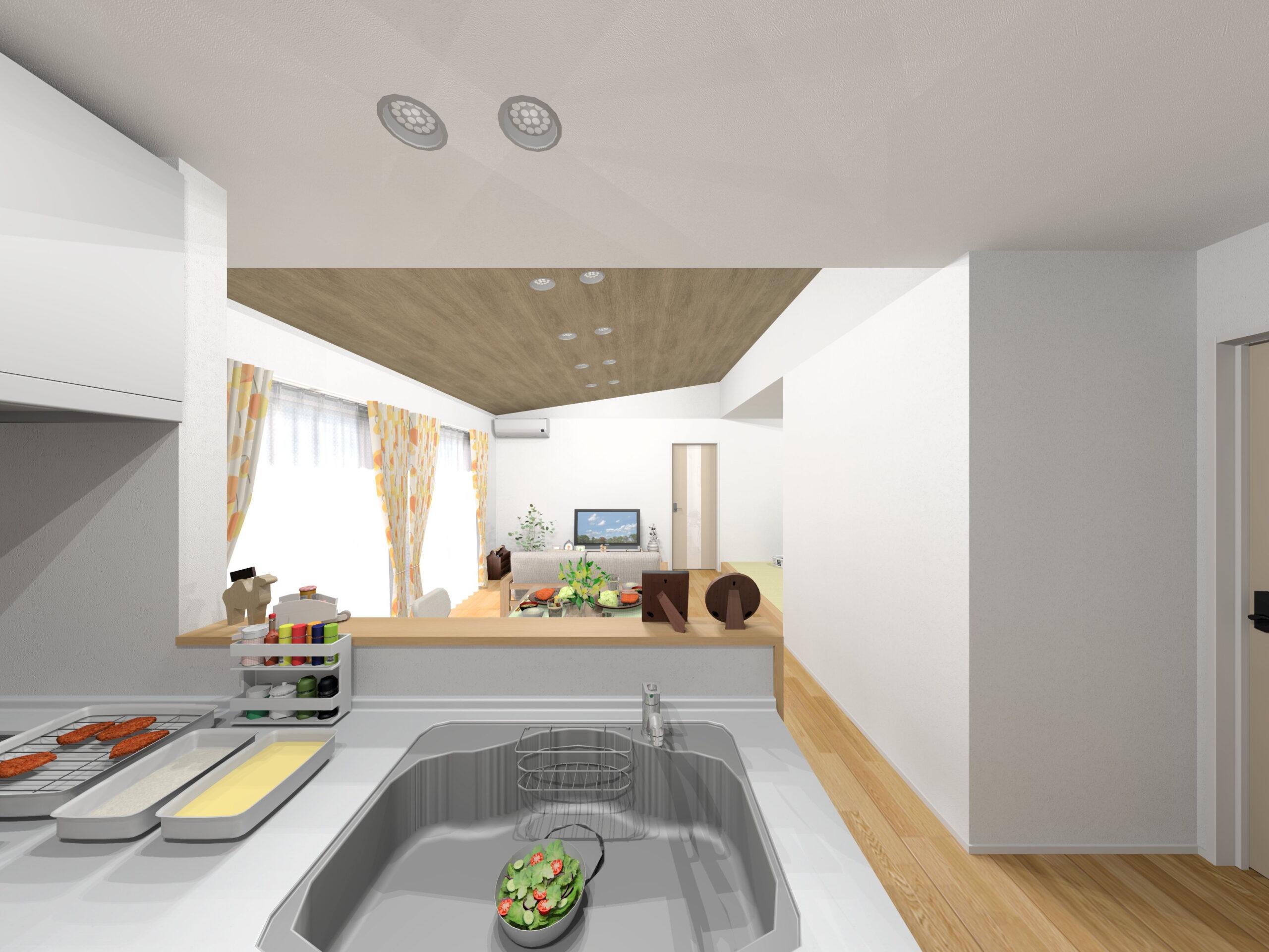 嬉野市新築建売住宅「OURS下宿」4号地LDKパース