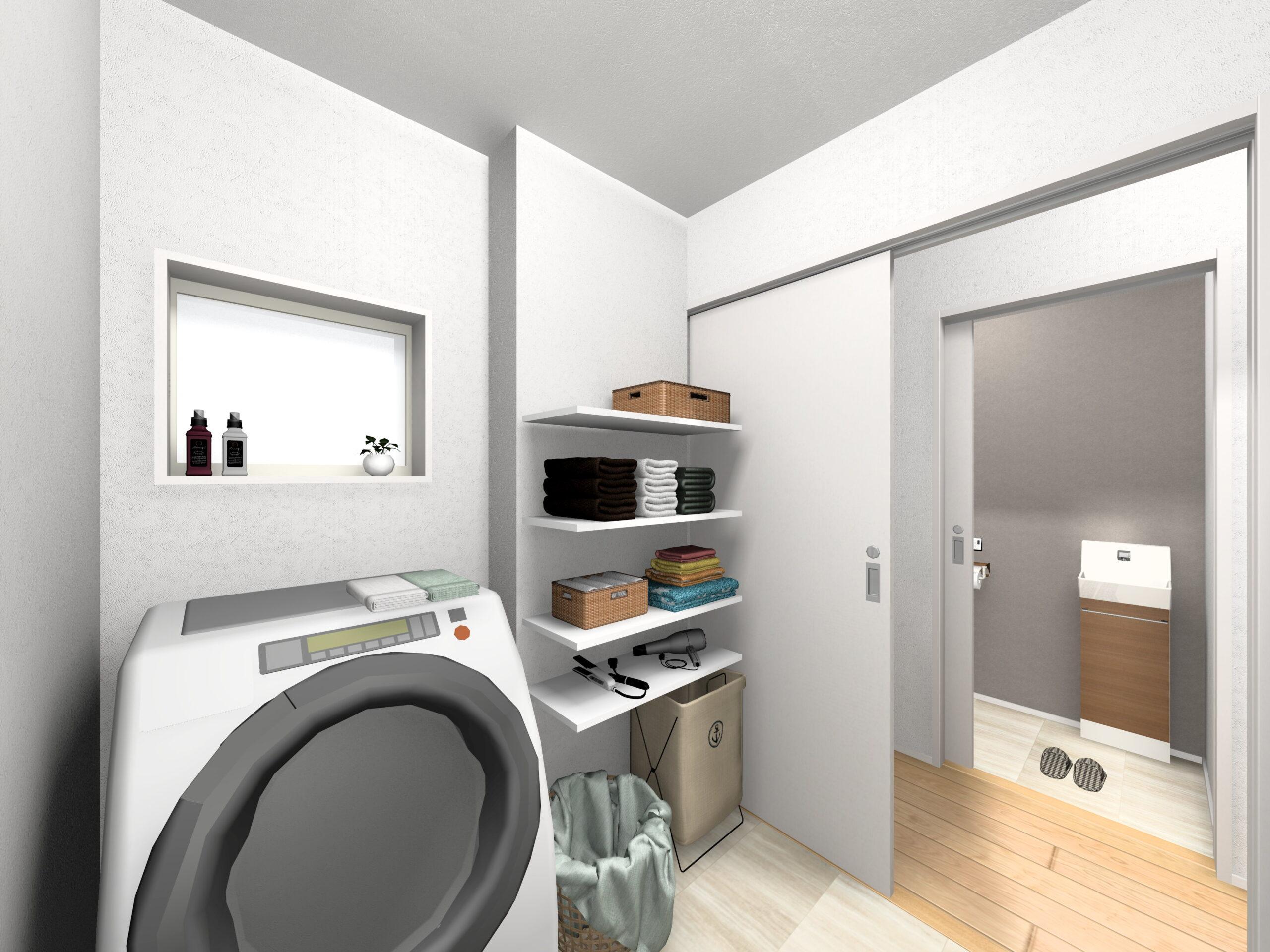 嬉野市新築建売住宅「OURS下野2号地」洗面脱室所パース