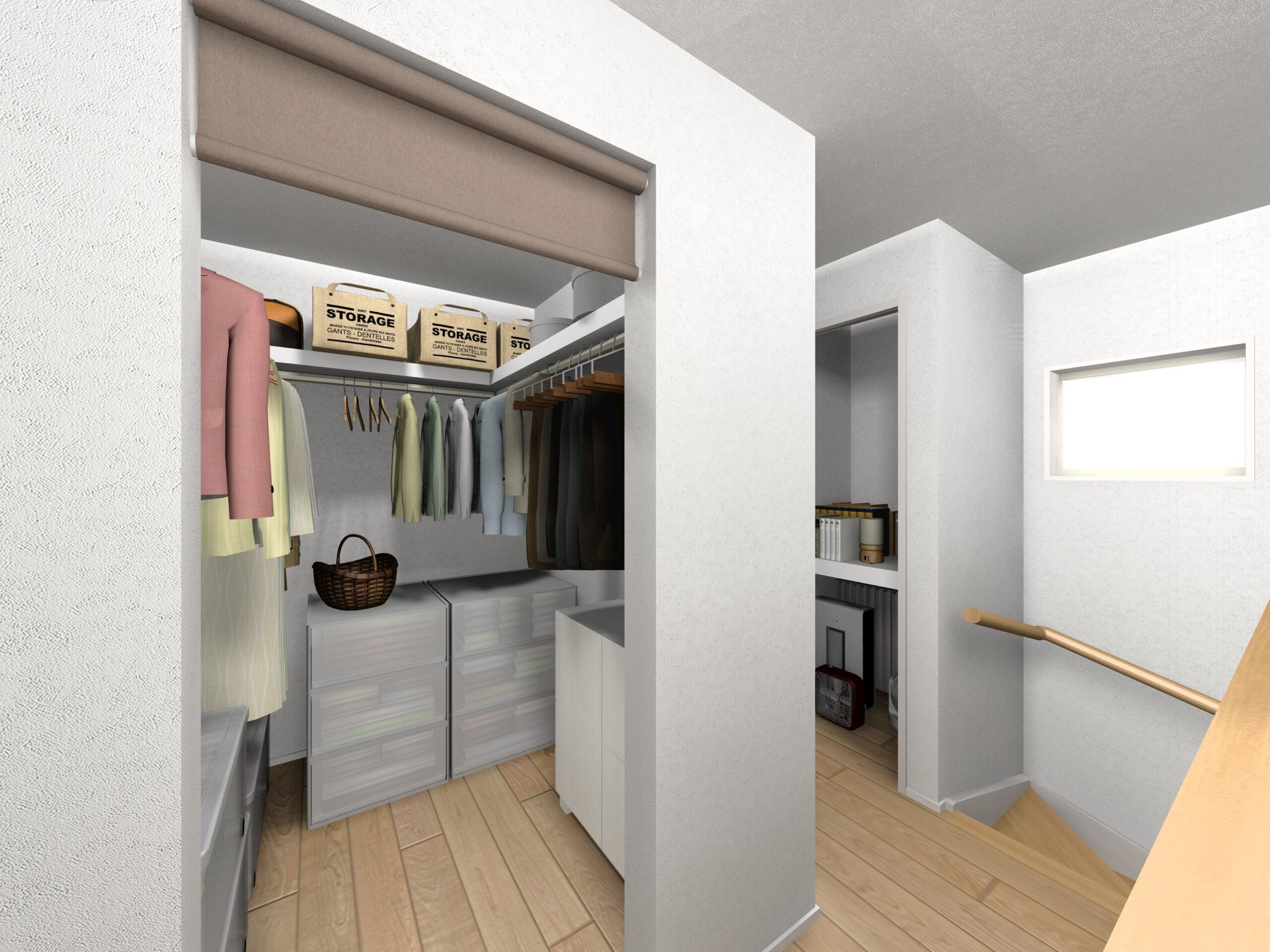 嬉野市新築建売住宅「OURS下野2号地」ファミリークローゼットパース