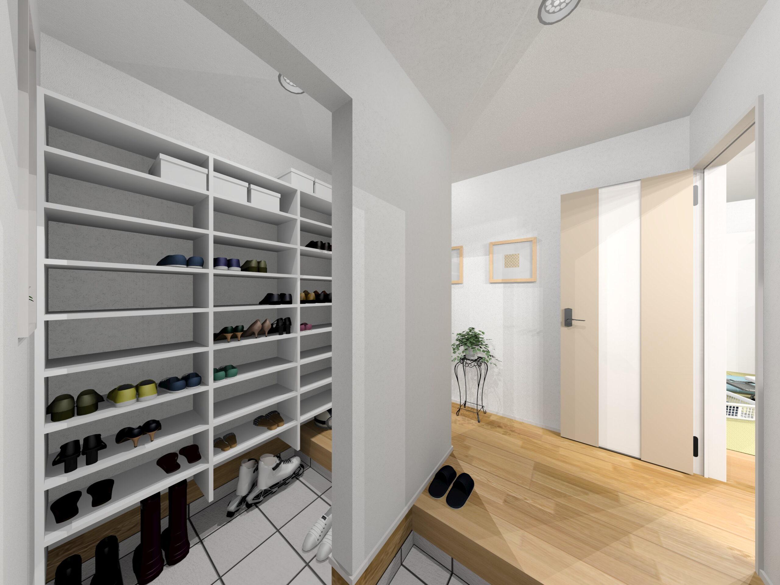 嬉野市新築建売住宅「OURS下宿」4号地シューズクロークパース