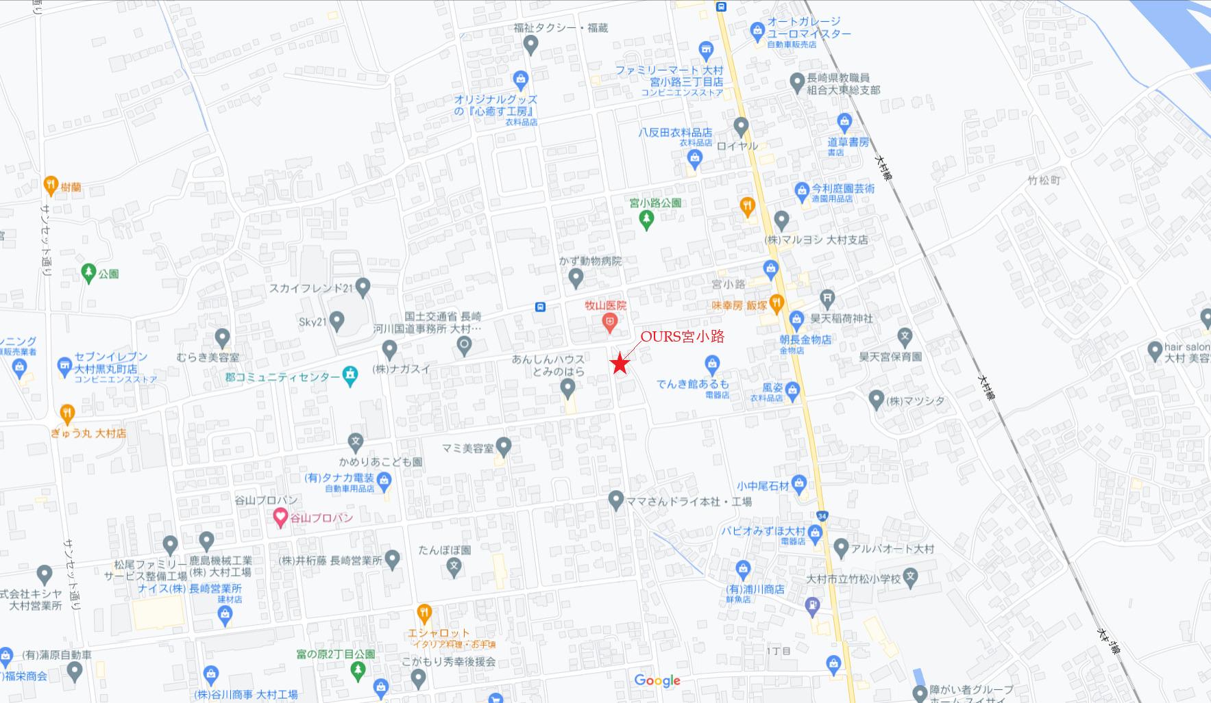 大村市新築建売住宅「OURS宮小路」地図