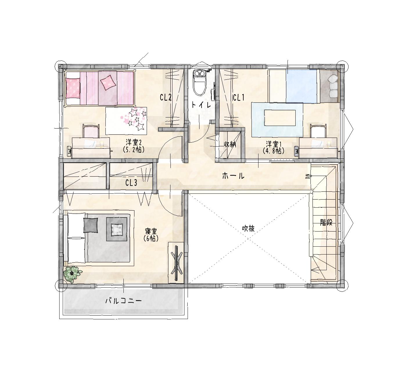 大村市新築建売住宅「OURS協和」間取り図