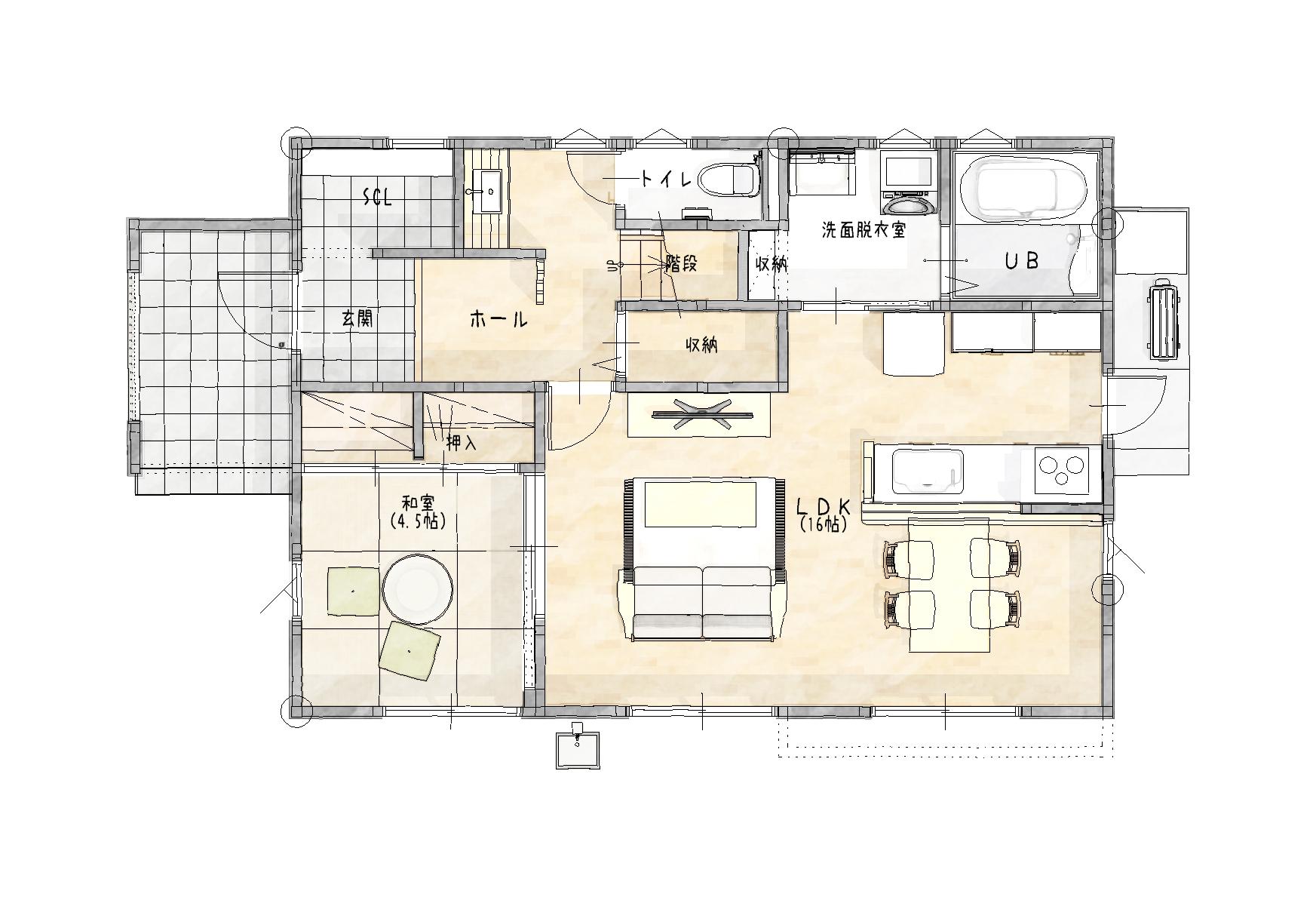 大村市新築建売住宅「OURS宮小路」1階間取り図