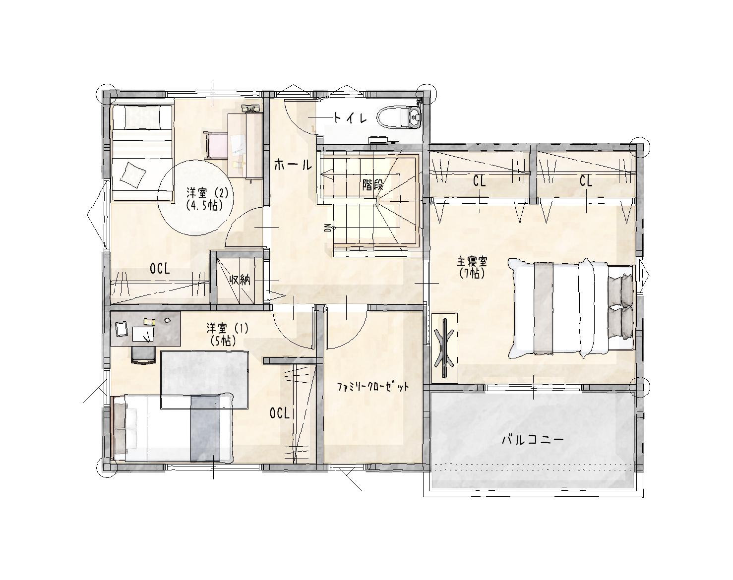 大村市新築建売住宅「OURS宮小路」2階間取り図