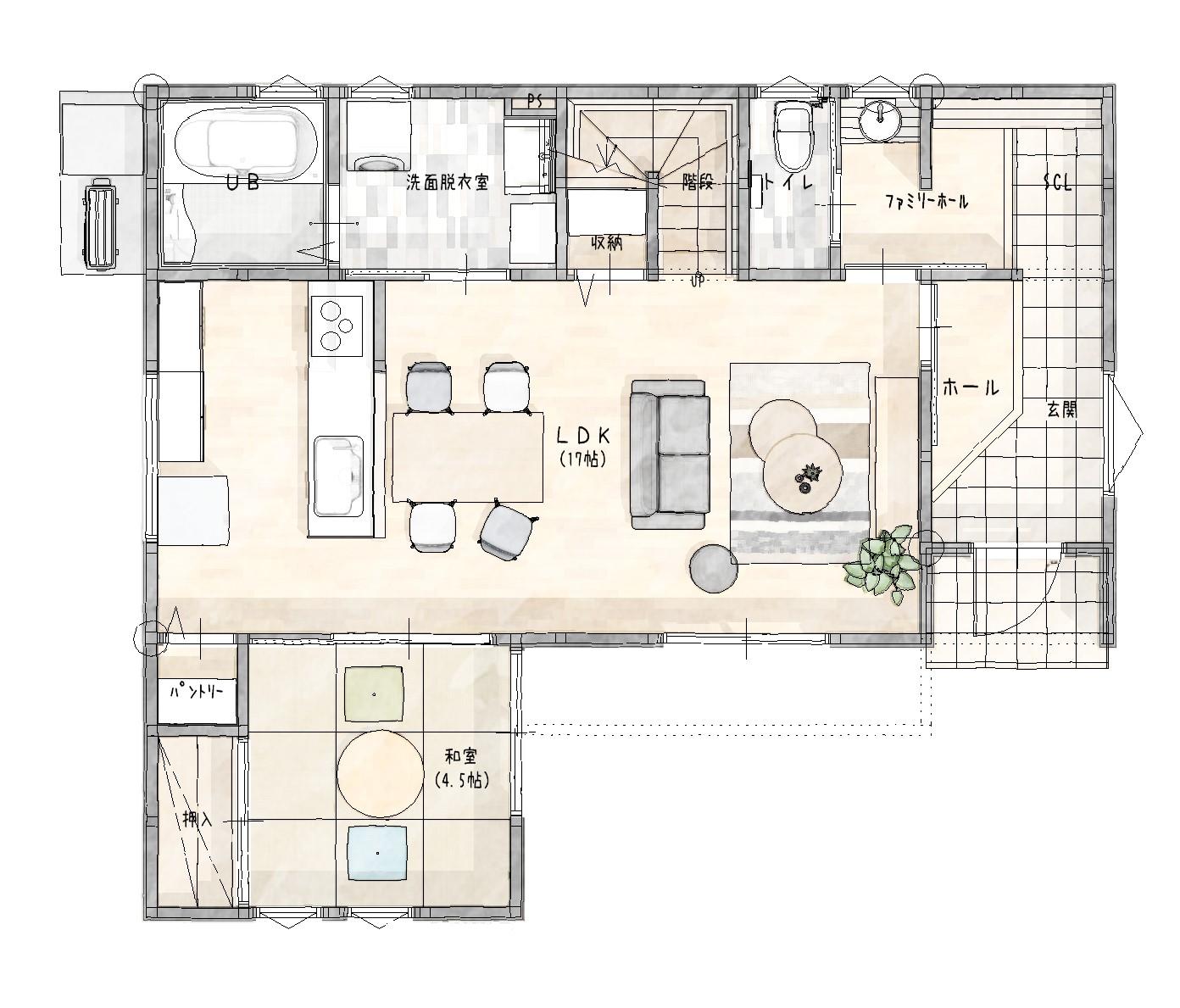 大村市新築建売住宅「OURS福重町2号地」間取り図